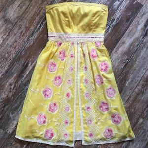 Vintage style yellow Strapless Dress